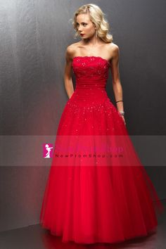 Prom Dresses Strapless A Line Floor Length Tulle Red