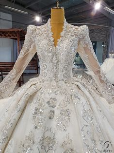 Luxury Wedding Dress, Backless Wedding, Long Wedding Dresses, Ball Dresses, Nice Dresses, Ball Gowns, Most Beautiful Dresses, Gowns With Sleeves, Lace Applique
