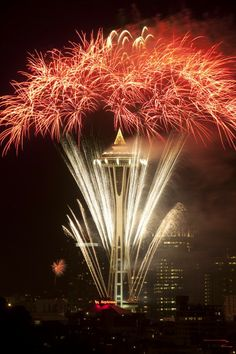 Fireworks shoot from the Space Needle in Seattle to bring in the new year at midnight on Jan. 1, 2012....photo by Ellen M. Banner / The Seattle Times