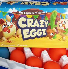 Crazy Eggz is an active family game for players which involves holding colourful rubber eggs without using your hands. Rubber Egg, Speed Games, D Tan, Doodle Doo, Blue Eggs, Family Games, Board Games, September, Age