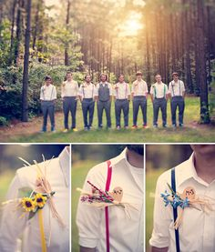 groomsmen in rainbow suspenders