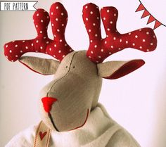 Christmas Reindeers Pattern ,PDF Sewing pattern for a Reindeer postman Festive Nordic,christmas patterns,Toy Reindeer Deer Sewing diy Reindeer Ornaments, Reindeer Handprint, Christmas Tree Ornaments, Christmas Decorations, Nordic Christmas, Christmas Crafts, Christmas Bags, Christmas Patterns, Christmas Moose