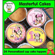 24 #personalised #minnie #mouse 1st birthday edible rice paper cup cake toppers,  View more on the LINK: 	http://www.zeppy.io/product/gb/2/231098906558/