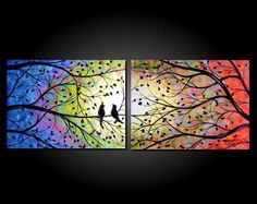 Large Abstract Bird Tree Painting Contemporary Modern Silhouette Rainbow Colors Two Canvas Diptych 18x48 by JMichael via Etsy