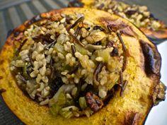 Vegan Holiday Stuffed Acorn Squash with Wild Rice, Cranberries and Mushrooms