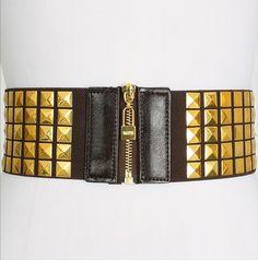Gold Brown Studded Zipper Stretch Belt