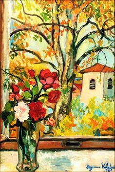 Suzanne Valadon - Bouquet de fleurs devant une fenêtre à Saint-Bernard