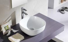 Lavabo Olea cuadrado, de porcelana sobre encimera, sin rebosadero y sin opción de ir en pared.