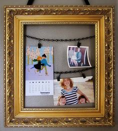 Recycled Photo Frame Holder DIY Project, sort of how I hung my Christmas cards between paintings with gold braid