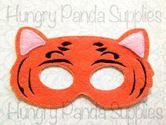 Tiger Mask Embroidery Design, felt tiger mask, in the hoop design
