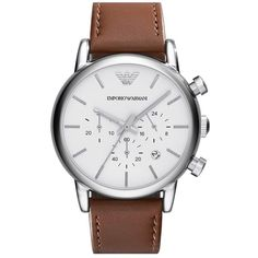 b8beae559ef Emporio Armani Chronograph Leather Strap Watch