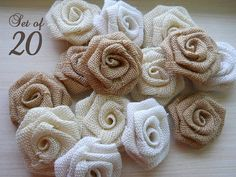 3 Burlap Roses Bulk Set of 20 Burlap Flowers for weddings, bouquet making, wedding decor, diy weddings. Made to Order.    Available in brown, ivory or