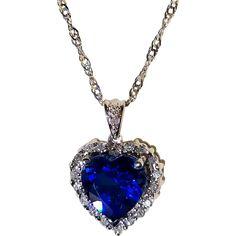 Diamond Heart, Halo Diamond, Diamond Pendant Necklace, Diamond Jewelry, Real Titanic, Blue Dream, Vintage Heart, Natural Diamonds, Blue Sapphire