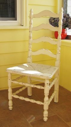 Distressed Painted ladder back chair with cane seat