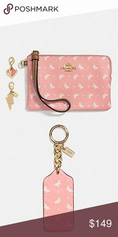 "NWT Coach gorgeous butterfly wristlet & keychain NWT Coach gorgeous butterfly wristlet & keychain!!  Wristlet measures 6.5"" in length & 4"" in height Coach Bags"