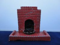 Vintage Lead Dolls House Fireplace and Hearth
