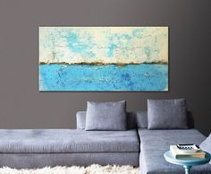 Acrylic Painting Canvas Wall art BLUEWATER by PanoramaPaintings