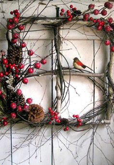 Rustic Christmas window wreath with berries and bird. (old windows from rental house) Noel Christmas, Christmas Projects, Winter Christmas, Holiday Crafts, Outdoor Christmas, Christmas Ornament, Christmas Berries, Christmas Images, Country Christmas