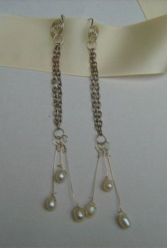 Sterling Silver Earrings with drop Pearls £15.00