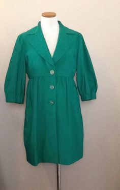 Green 3 Button 3/4 Sleeve NINE WEST Spring Coat Size S-8 #NineWest #Trench