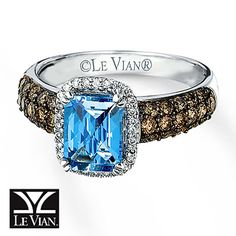 LeVian Blue Topaz Ring 3/4 ct tw Diamonds 14K Vanilla Gold