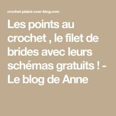 Les points au crochet , le filet de brides avec leurs schémas gratuits ! - Le blog de Anne