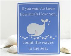 Children's wall art- baby nursery decor, beach, blue, whale, hearts 8x10 inch print. $16.00, via Etsy.