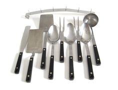 New to LaurasLastDitch on Etsy: Flint Kitchen Utensils Spatula Meat Fork Soup Ladle Basting Spoon Icing Spreader Rack (18.99 USD)