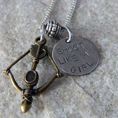 Shoot Like a Girl Bow and Arrow Necklace by WireNWhimsy on Etsy, $26.00