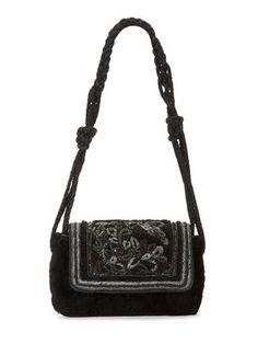 Felice Embroidered Sheepskin Shoulder Bag