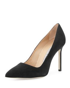 BB+105mm+Suede+Point-Toe+Pump+by+Manolo+Blahnik+at+Neiman+Marcus.