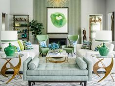 Stunning luxury green and gold transitional style living room decor with modern sofas, green decor, green sofa, green house, green living room Living Room With Fireplace, Living Room Sofa, Living Room Decor, Green Sofa, Geometric Decor, Living Room Green, Diy Décoration, Space Furniture, Living Room Lighting