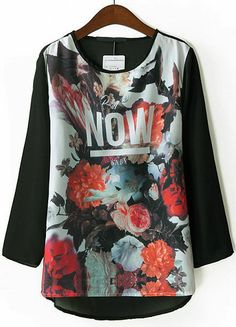 Black Long Sleeve Floral NOW Print Blouse US$26.83