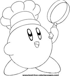 click to print chef kirby coloring page