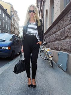 Harem pants with striped top