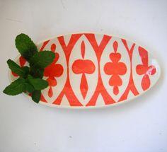 Oval ceramic dish/ coral  ellipse pattern MADE TO ORDER.CeramicaBotanica, via Etsy.