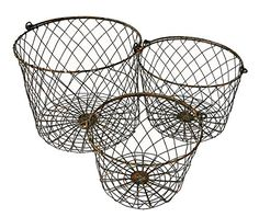 Wire Round Storage Nesting Baskets With Handles Set of 3 Rustic Finish for sale online Dog Toy Storage, Wall Storage Shelves, Toy Storage Solutions, Basket Shelves, Metal Chicken, Birthday Gifts For Husband, Round Basket, Wire Baskets, Farmhouse Decor