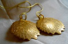 Etched Gold Oval Charm Earrings by PLANETDIGS2 on Etsy, $16.00