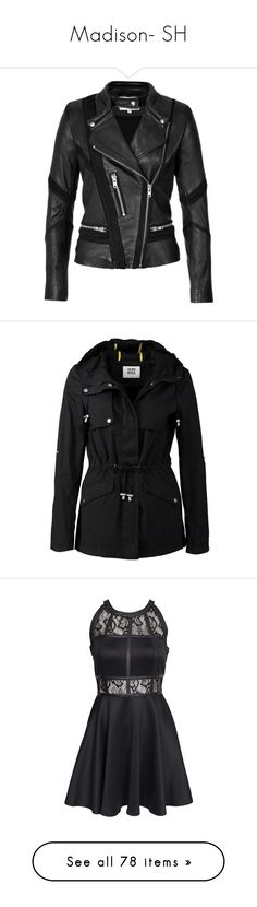 """""""Madison- SH"""" by inestrindade on Polyvore featuring outerwear, jackets, biker jacket, slim fit motorcycle jacket, leather motorcycle jacket, genuine leather biker jacket, rider leather jacket, coats, black and parka coat"""