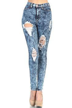 SALE - Destroyed High Waisted Jeans - Medium Acid Wash