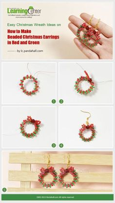 How to Make Beaded Christmas Earrings in Red and Green