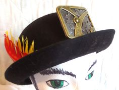 Steampunk Bowler Hat M-L Black Felt with Feathers and Buckle Details Costume Cosplay - pinned by pin4etsy.com