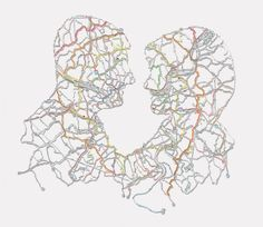Incredible hand-cut road maps by Nikki Rosato. This would be a cool idea to have the husband's silhouette be a map from where he was born and the same with the wife's. Art Altéré, Map Art, Map Quilt, Map Globe, Communication Art, A Level Art, Custom Map, Textile Artists, Art Plastique