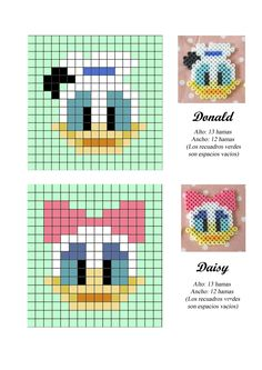 Donald and Daisy Duck hama perler beads pattern