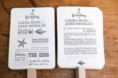 50 Thick Cotton Paper Custom Designed Letterpress Wedding Program Fans with printed handles, Thank you card, Hand Made, Beach Wedding on Etsy, $205.30