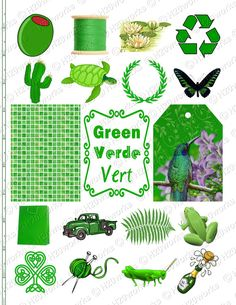 GREEN Stuff, Things that are Green, Objects - Digital Collage Sheet by H20worksDesigns