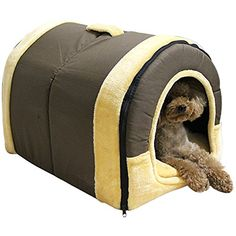 Cozy 2-in-1 Pet house and Sofa Non-Slip Dog Cat Igloo Beds 3-Size,Brown Large