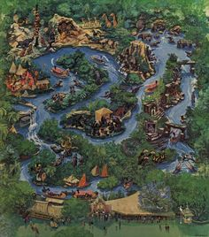 Painting by Disney Legend Charles Boyer captures all the excitement of the 1981 version of Disneyland's Jungle Cruise.