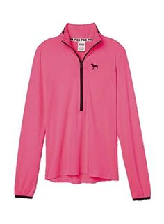 """From the #Victoria's Secret """"PINK"""" Collection, Ultimate deep v half zip style, Printed chest logo and neck stripes, Thin, lightweight, premium stretch fabric"""