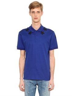 GIVENCHY Cuban Stars Patch Cotton Piqué Polo, Blue. #givenchy #cloth #polos